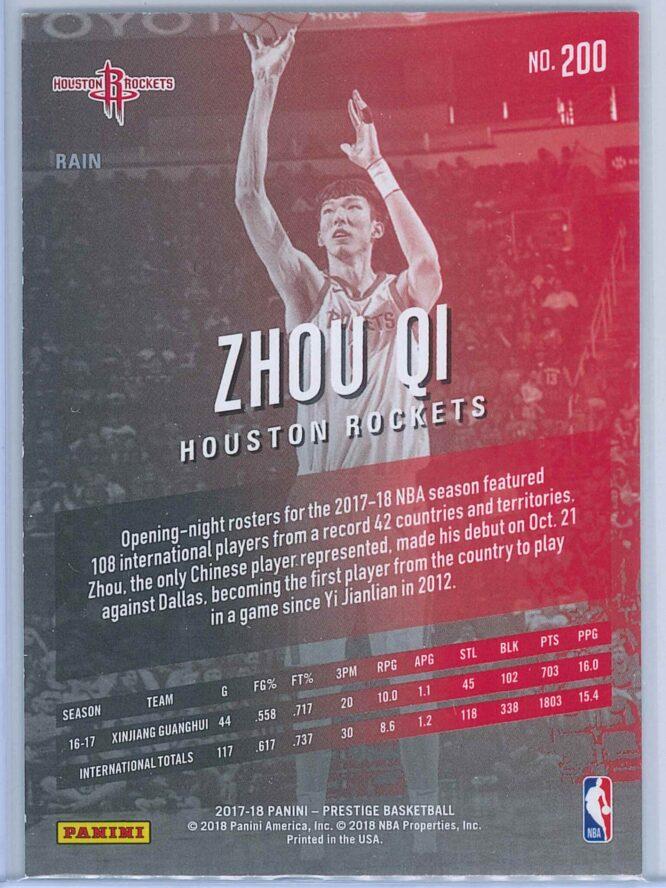 Zhou Qi Panini Prestige Basketball 2017 18 Base Rain Parallel RC 2