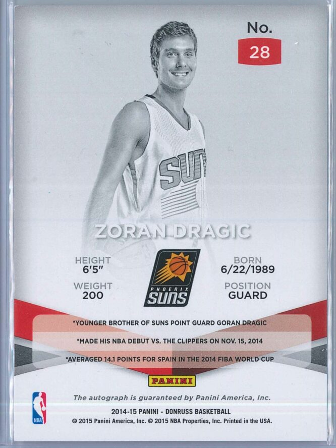 Zoran Dragic Panini Elite Basketball 2014 15 123249 RC Auto 2