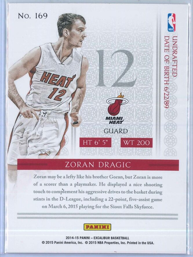 Zoran Dragic Panini Excalibur Basketball 2014 15 Knights Templar Red Foil RC 2