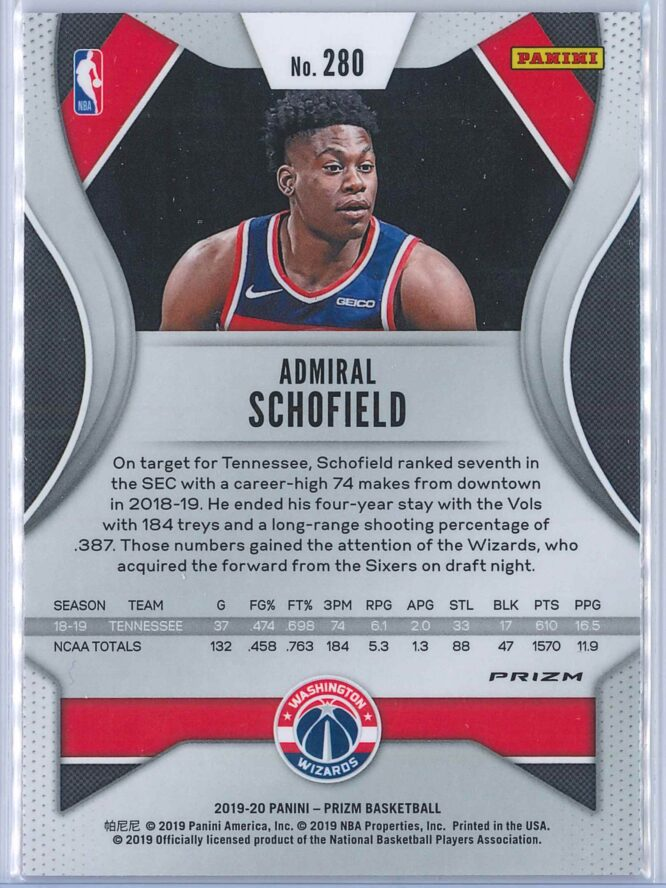 Admiral Schofield Panini Prizm Basketball 2019 20 Base Pink Ice Parallel RC 2