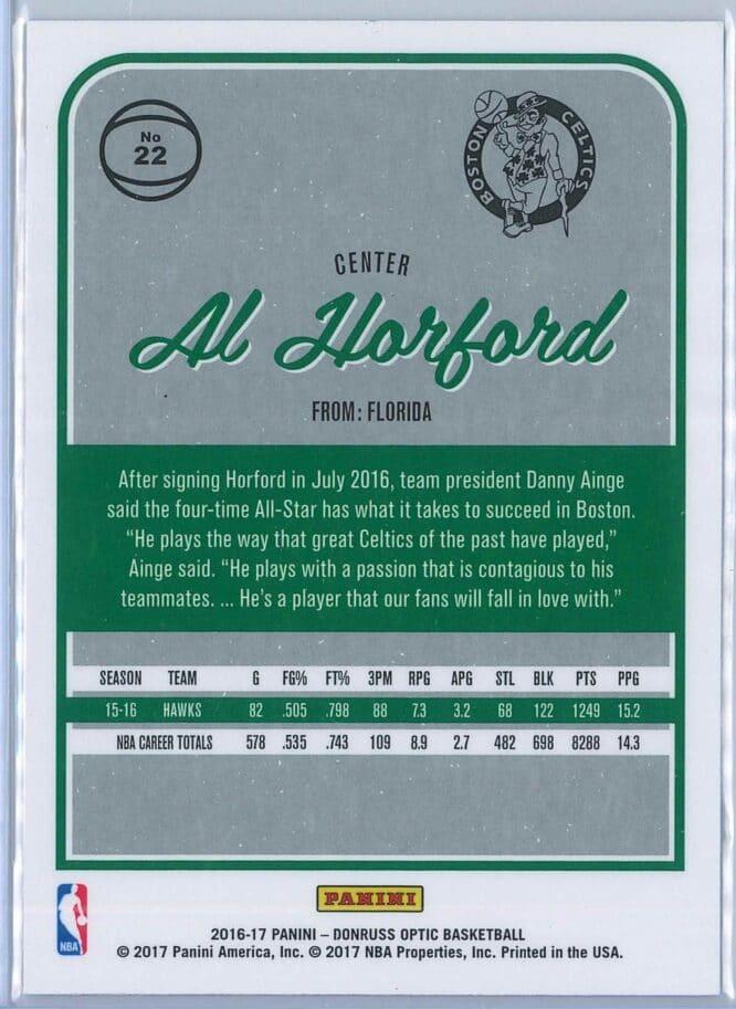 Al Horford Panini Donruss Optic Basketball 2016 17 Base 2