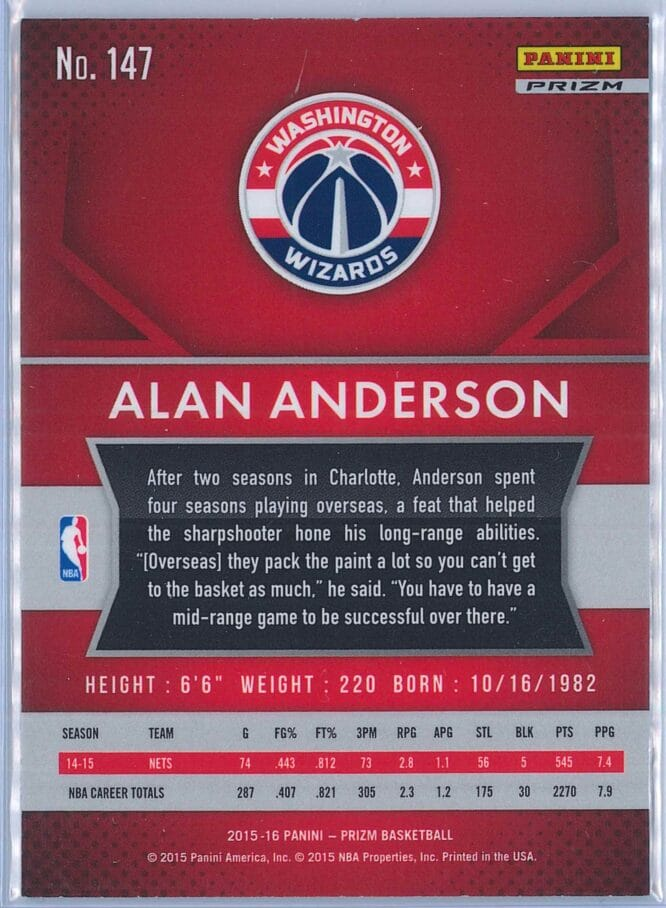 Alan Anderson Panini Prizm Basketball 2015 16 Base Red White Blue Parallel 2