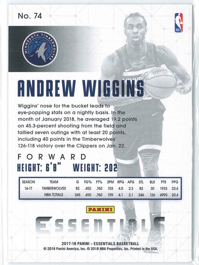 Andrew Wiggins Panini Essentials Basketball 2017 18 Base Green RC 2