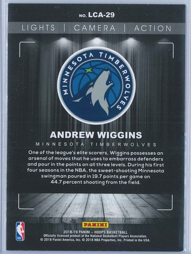 Andrew Wiggins Panini NBA Hoops Basketball 2018 19 Lights Camera Action Winter Parallel 2