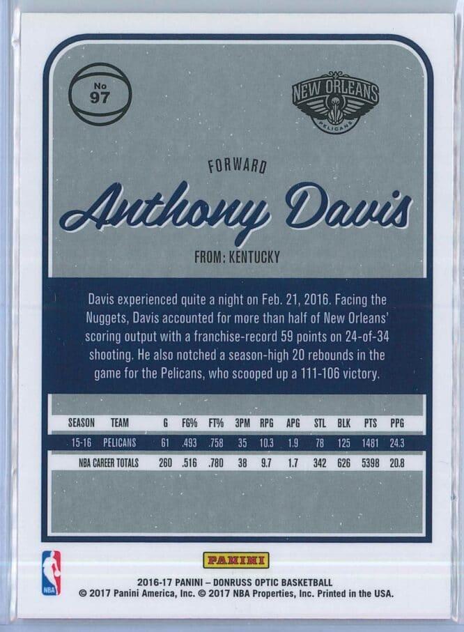 Anthony Davis Panini Donruss Optic Basketball 2016 17 Base 2