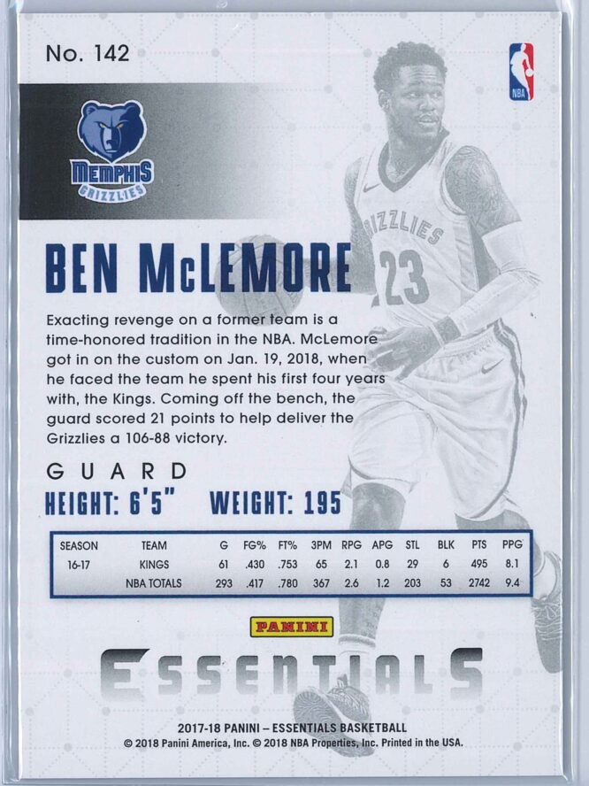 Ben McLemore Panini Essentials Basketball 2017 18 Base Spiral 2
