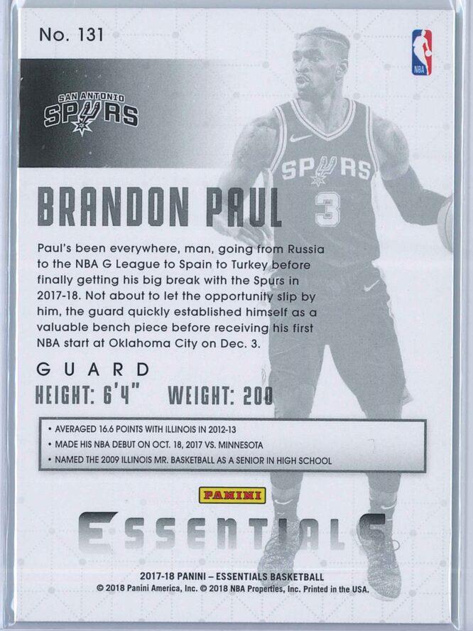 Brandon Paul Panini Essentials Basketball 2017 18 Base Green 2
