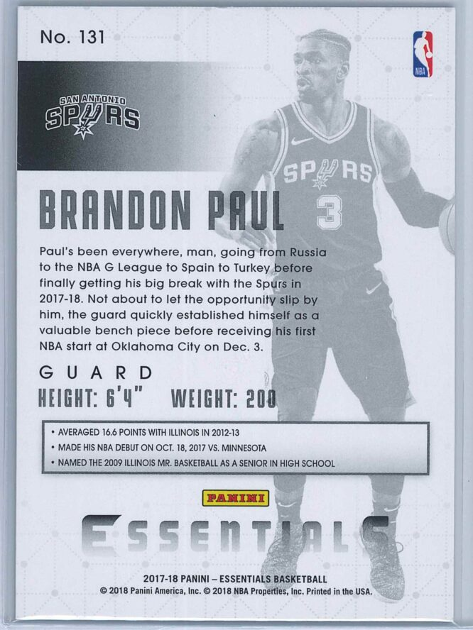 Brandon Paul Panini Essentials Basketball 2017 18 Base Spiral 2