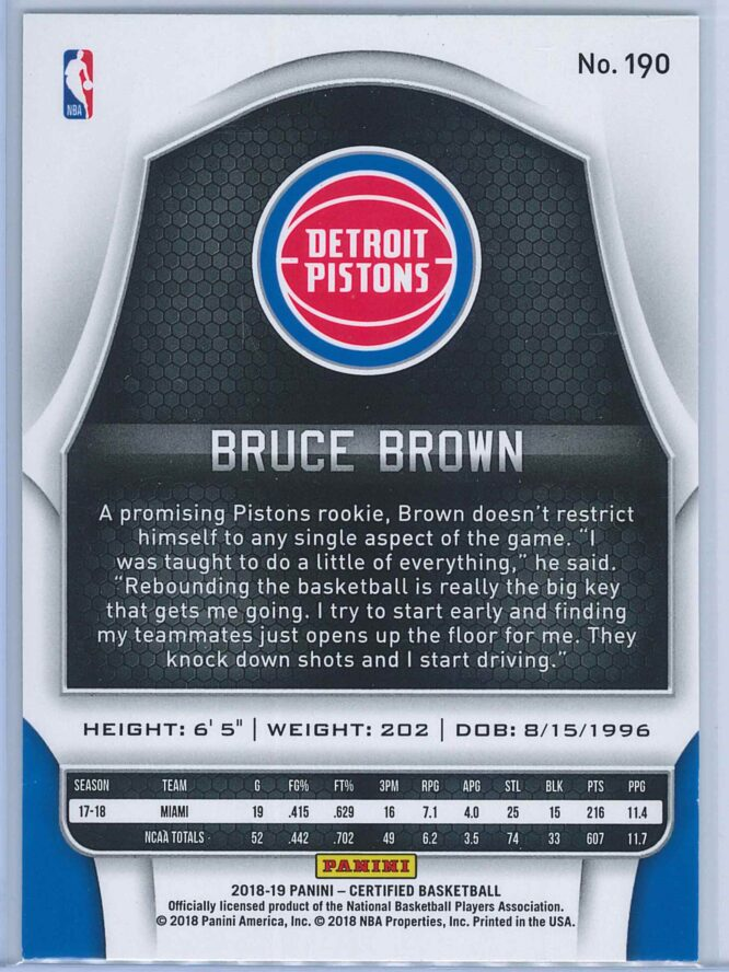 Bruce Brown Panini Certified Basketball 2018 19 Base RC 2