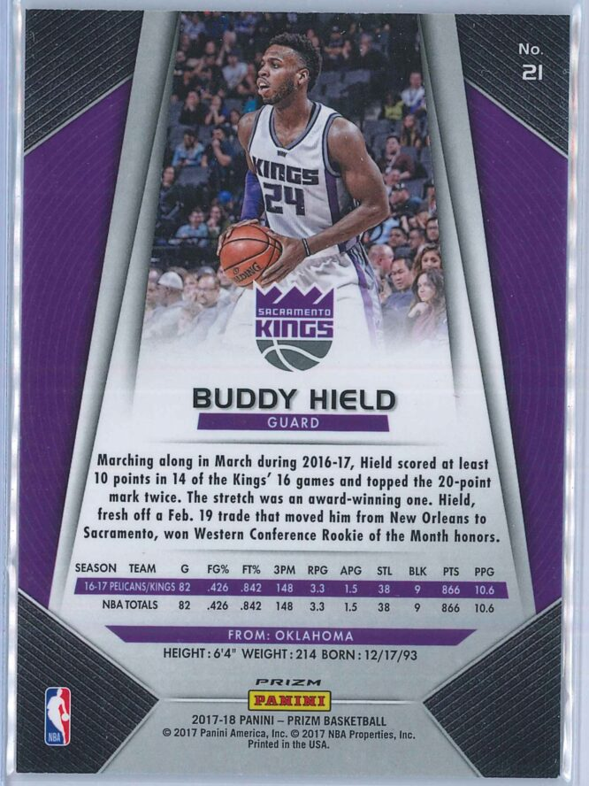 Buddy Hield Panini Prizm Basketball 2017 18 Base Red White Blue Parallel 2