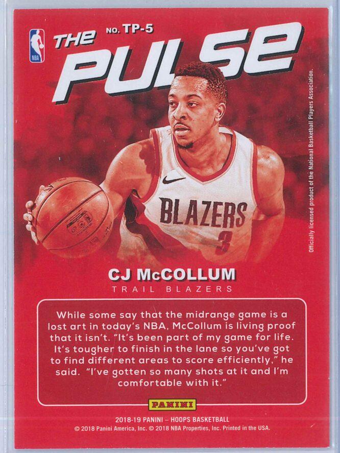 C.J. McCollum Panini NBA Hoops Basketball 2018 19 The Pulse Winter Parallel 2