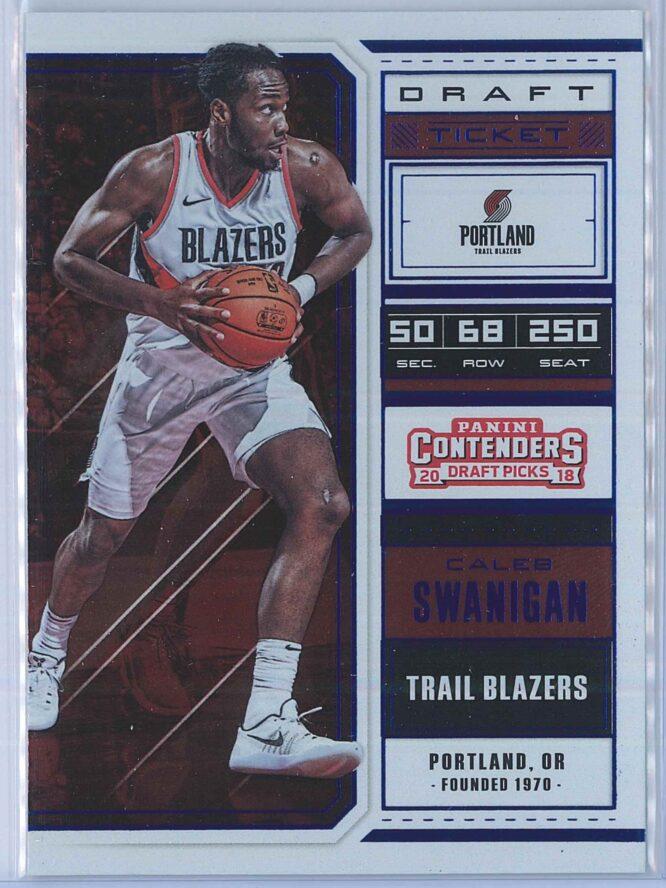 Caleb Swanigan Panini Contenders Draft Picks Basketball 2018-19 Base Season Ticket Blue Foil