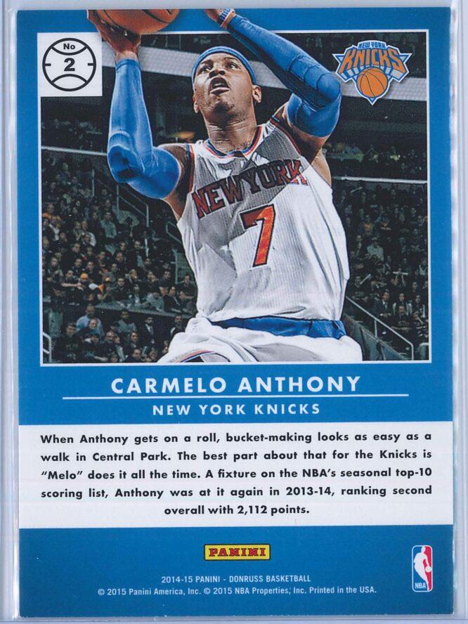 Carmelo Anthony Panini Donruss Basketball 2014 15 Production Line 2