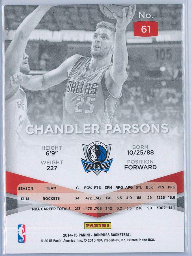Chandler Parsons Panini Donruss Basketball 2014 15 Elite 2