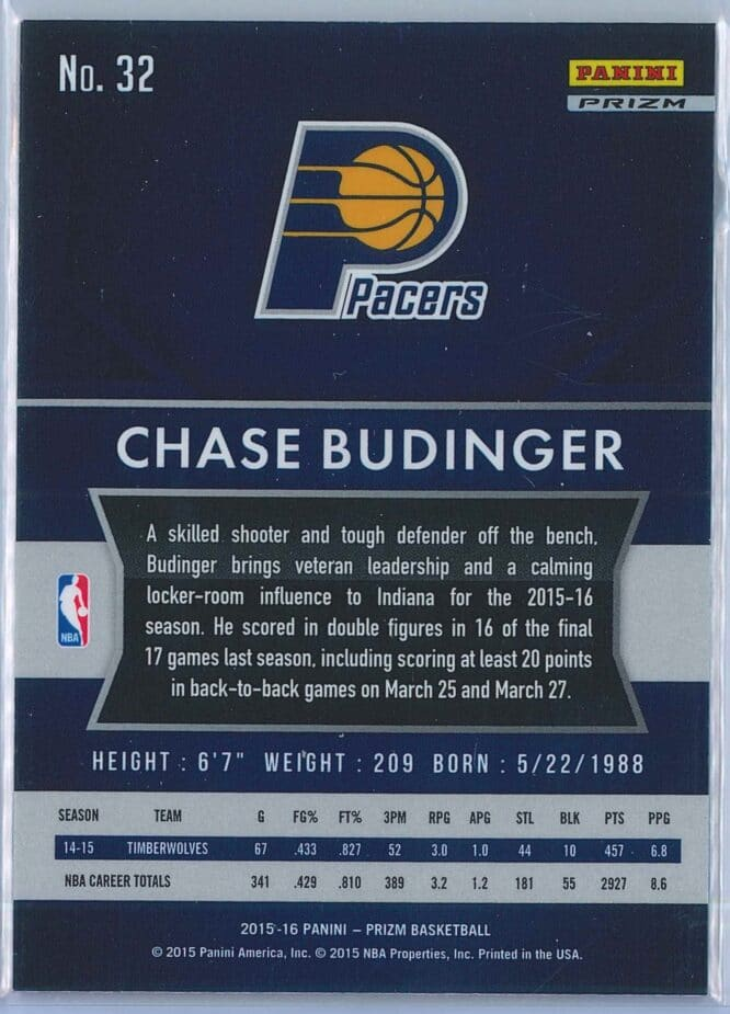 Chase Budinger Panini Prizm Basketball 2015 16 Base Red White Blue Parallel 2