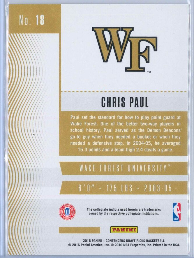 Chris Paul Panini Contenders Draft Picks Basketball 2016 17 Base Season Ticket 2