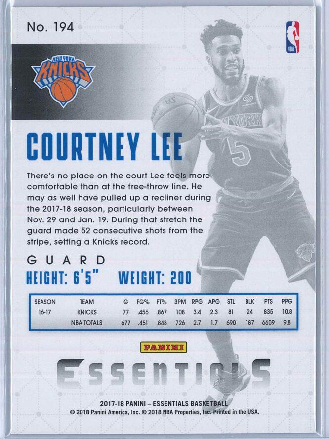 Courtney Lee Panini Essentials Basketball 2017 18 Base Green 2