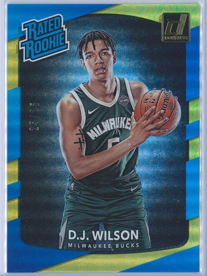 D.J. Wilson Panini Donruss Optic Basketball 2017 18 Rated Rookie Aqua Parallel 2525 1