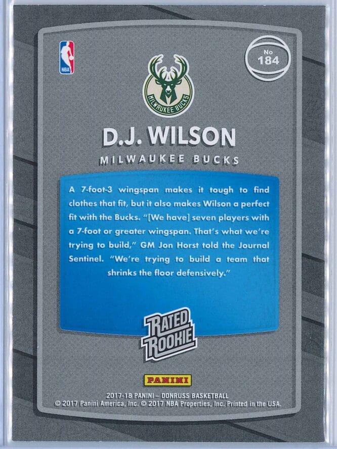 D.J. Wilson Panini Donruss Optic Basketball 2017 18 Rated Rookie Aqua Parallel 2525 2