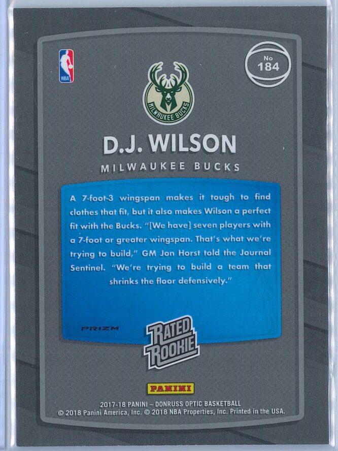 D.J. Wilson Panini Donruss Optic Basketball 2017 18 Rated Rookie Holo Fast Break Parallel 2