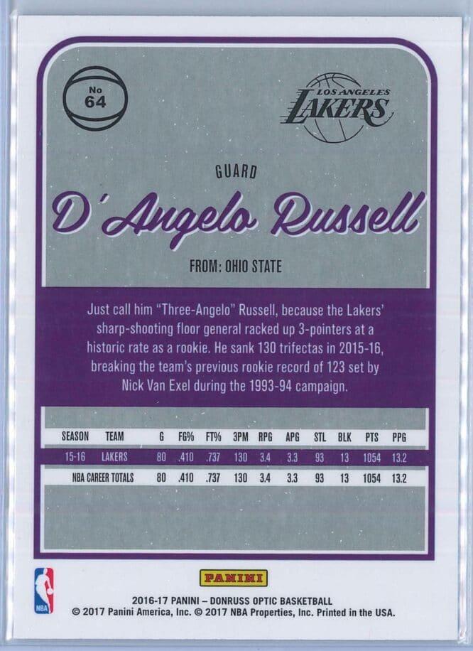 DAngelo Russell Panini Donruss Optic Basketball 2016 17 Base 2