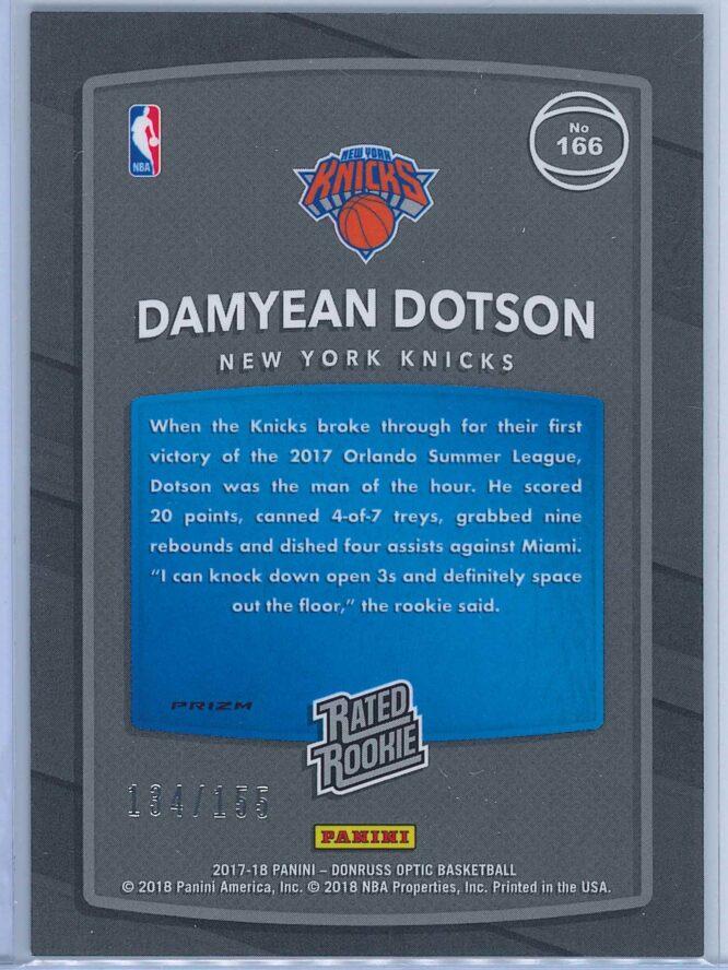 Damyean Dotson Panini Donruss Optic Basketball 2017 18 Rated Rookie Holo Fast Break Parallel 2