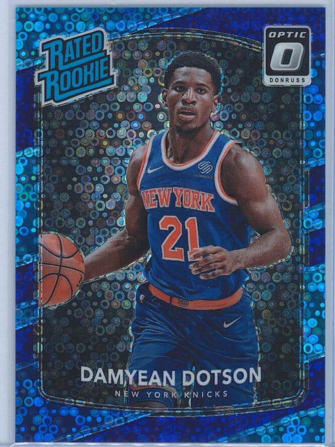 Damyean Dotson Panini Donruss Optic Basketball 2017 18 Rated Rookie Purple Fast Break Parallel 134155 1