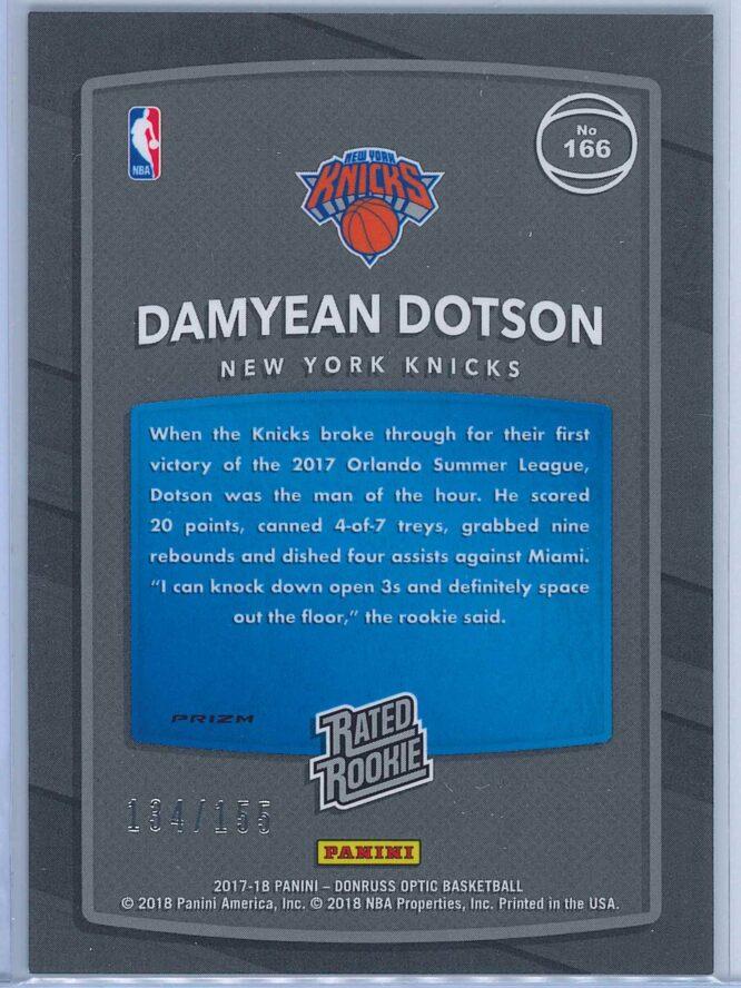 Damyean Dotson Panini Donruss Optic Basketball 2017 18 Rated Rookie Purple Fast Break Parallel 134155 2