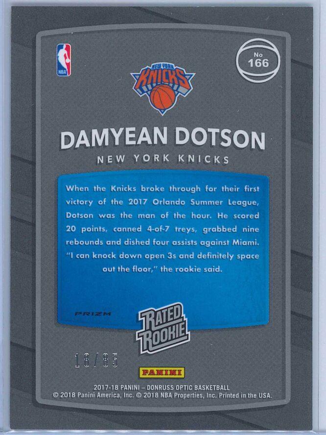 Damyean Dotson Panini Donruss Optic Basketball 2017 18 Rated Rookie Red Fast Break Parallel 1885 2