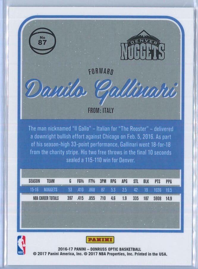 Danilo Gallinari Panini Donruss Optic Basketball 2016 17 Base 2