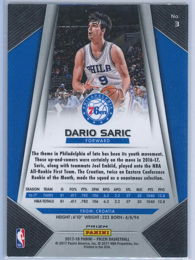 Dario Saric Panini Prizm Basketball 2017 18 Base Red White Blue Parallel 2