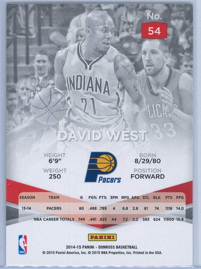 David West Panini Donruss Basketball 2014 15 Elite 2