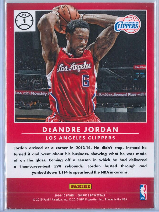 DeAndre Jordan Panini Donruss Basketball 2014 15 Production Line 2