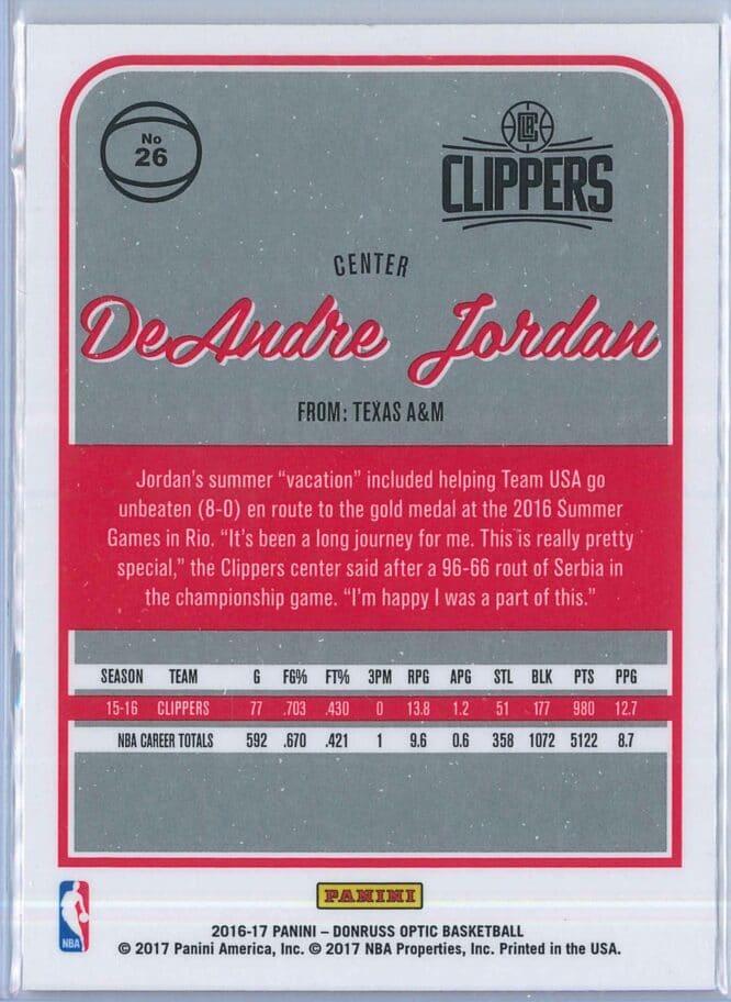 DeAndre Jordan Panini Donruss Optic Basketball 2016 17 Base 2