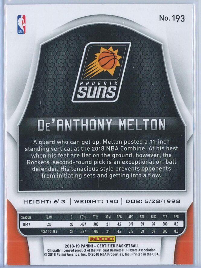 DeAnthony Melton Panini Certified Basketball 2018 19 Base RC 2