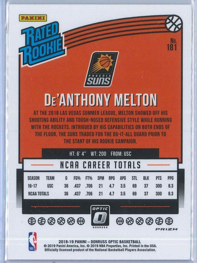 DeAnthony Melton Panini Donruss Optic Basketball 2018 19 Rated Rookie Blue Velocity 2