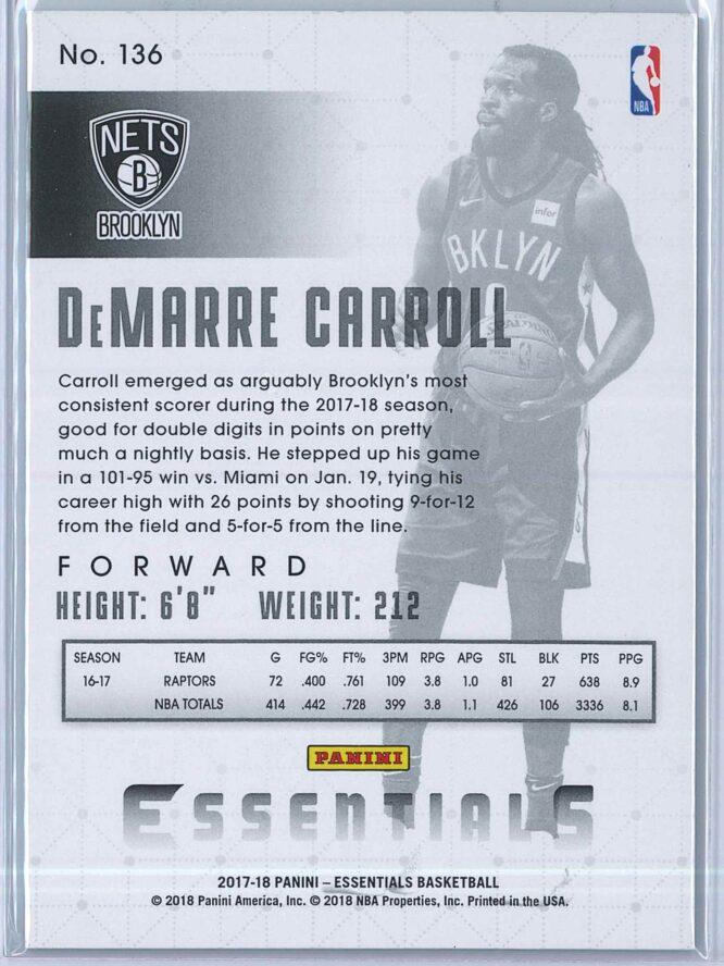 DeMarre Carroll Panini Essentials Basketball 2017 18 Base Green 2