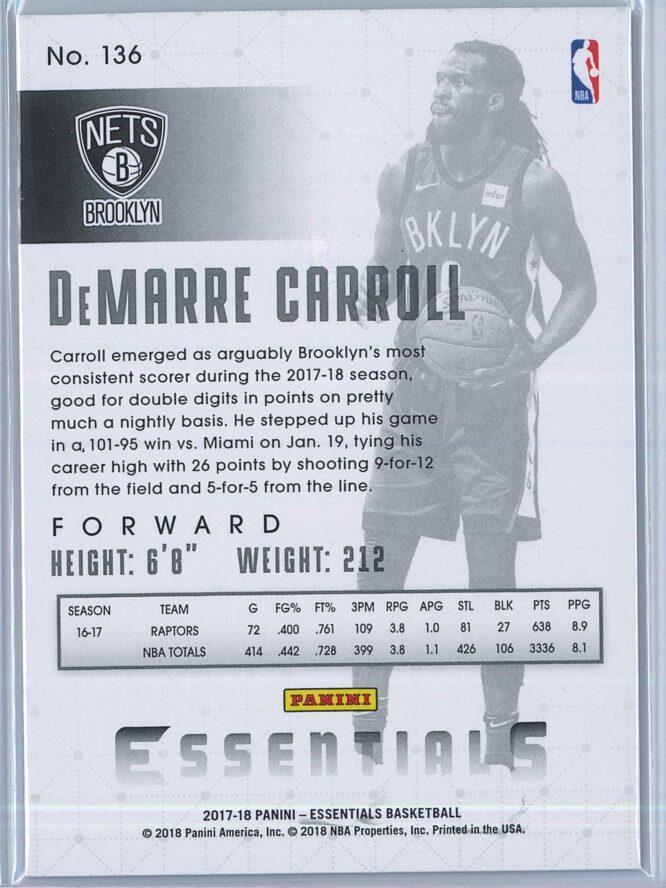 DeMarre Carroll Panini Essentials Basketball 2017 18 Base Spiral 2