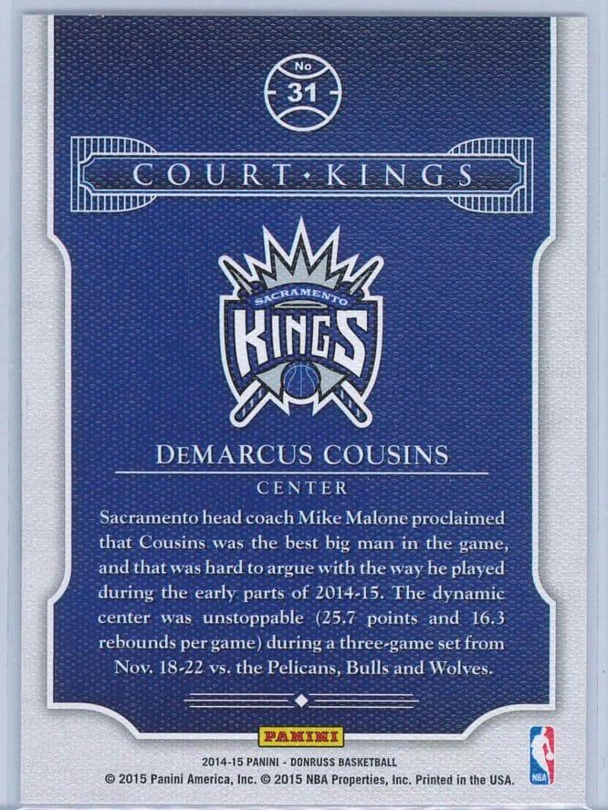 Demarcus Cousins Panini Donruss Basketball 2014 15 Court Kings 2