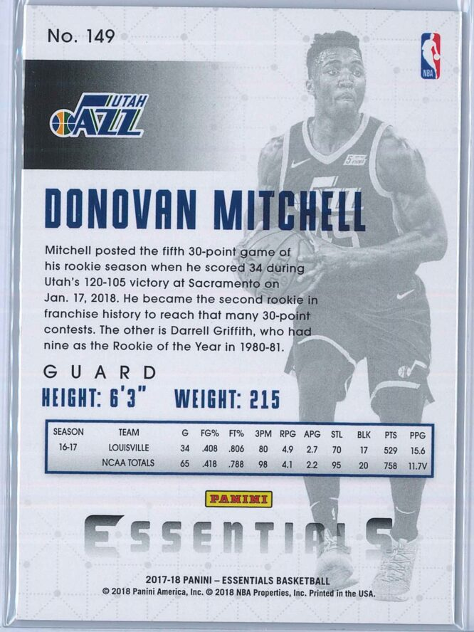 Donovan Mitchell Panini Essentials Basketball 2017 18 Base Spiral RC 2