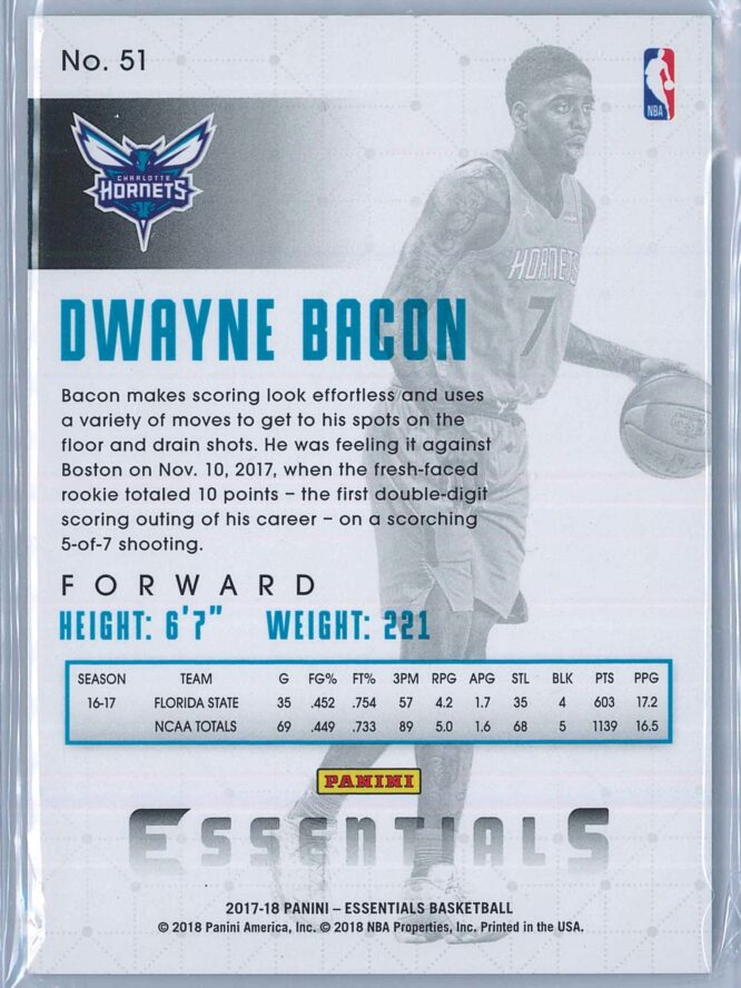 Dwayne Bacon Panini Essentials Basketball 2017 18 Base Spiral RC 2