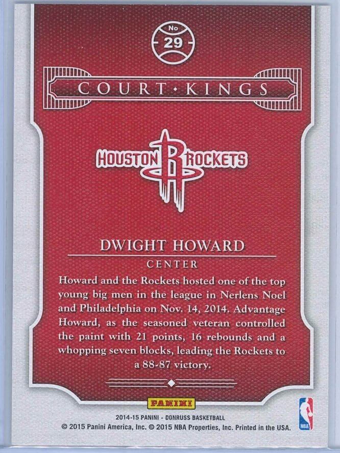Dwight Howard Panini Donruss Basketball 2014 15 Court Kings 2