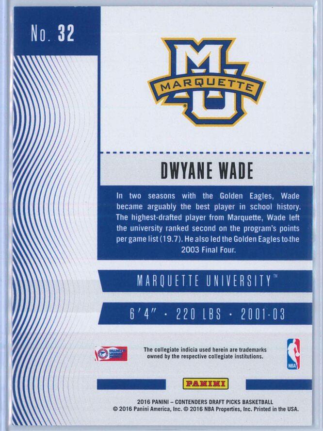 Dwyane Wade Panini Contenders Draft Picks Basketball 2016 17 Base Season Ticket 2