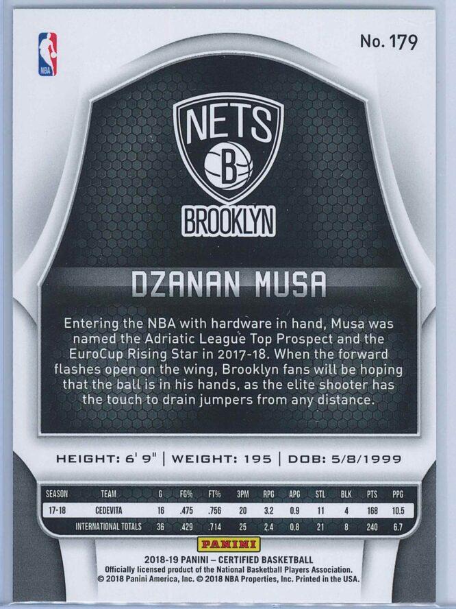 Dzanan Musa Panini Certified Basketball 2018 19 Base RC 2