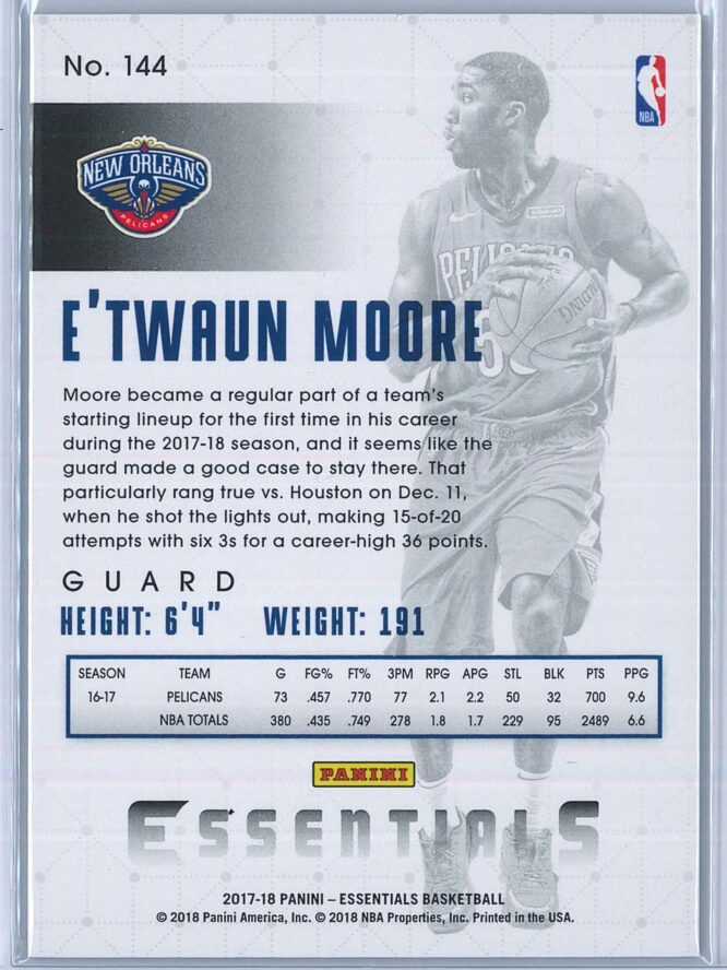 ETwaun Moore Panini Essentials Basketball 2017 18 Base Green 2