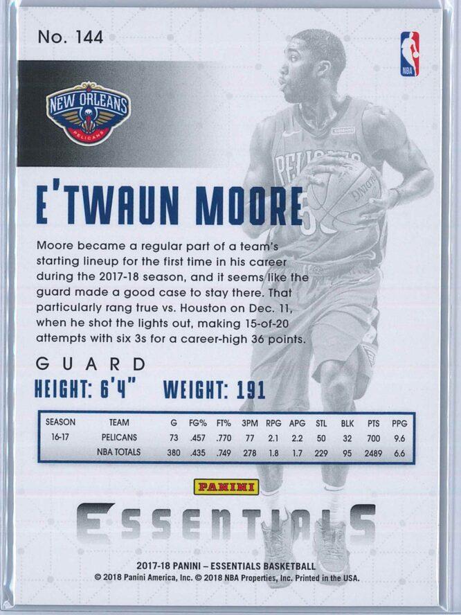 ETwaun Moore Panini Essentials Basketball 2017 18 Base Spiral 2