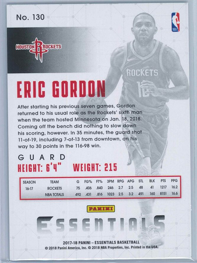 Eric Gordon Panini Essentials Basketball 2017 18 Base Green 2