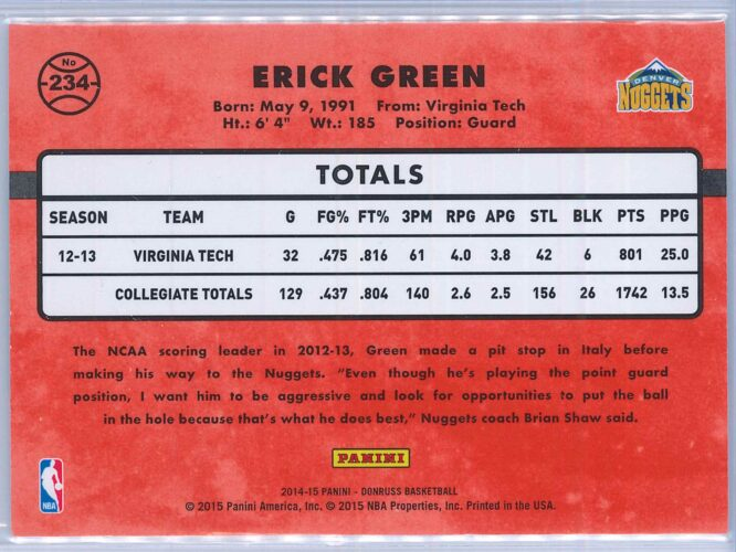 Erick Green Panini Donruss Basketball 2014 15 Rated Rookie Purple Press Proof 119199 2