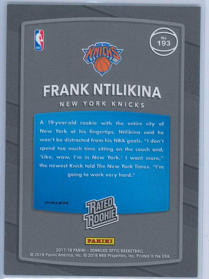 Frank Ntilikina Panini Donruss Optic Basketball 2017 18 Rated Rookie Holo 2