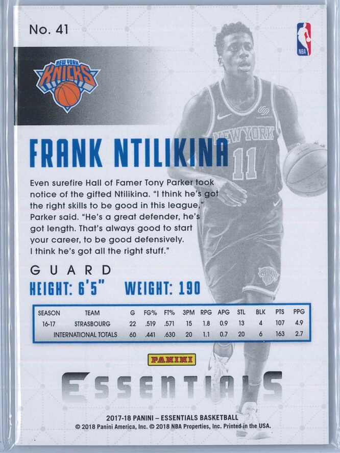 Frank Ntilikina Panini Essentials Basketball 2017 18 Base Spiral RC 2